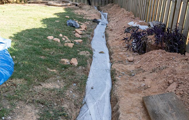 steps of french drain installation
